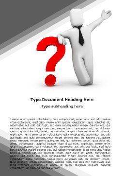 Red Question Mark Under Hand Of Man Word Template, Cover Page, 05202, Consulting — PoweredTemplate.com
