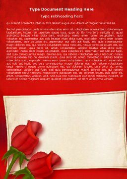 Red Roses Card Word Template, Cover Page, 05207, Holiday/Special Occasion — PoweredTemplate.com