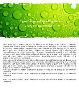 Green Water Drops Word Template, Cover Page, 05216, Abstract/Textures — PoweredTemplate.com