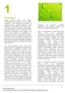 Green Water Drops Word Template First Inner Page