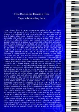 Piano Keyboard On Blue Background Word Template Cover Page