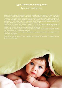 Baby Under Blanket Word Template, Cover Page, 05234, People — PoweredTemplate.com