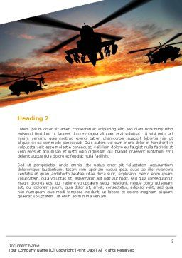 Attack Helicopter Word Template, Second Inner Page, 05247, Military — PoweredTemplate.com