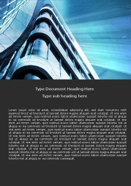 Blue Colored Skyscraper Word Template, Cover Page, 05261, Construction — PoweredTemplate.com