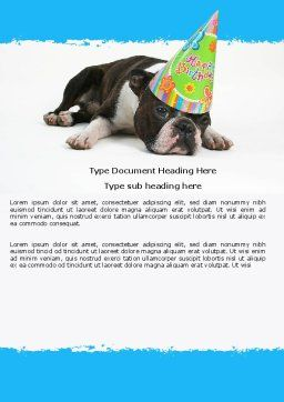 Happy Birthday Puppy Word Template, Cover Page, 05265, Holiday/Special Occasion — PoweredTemplate.com