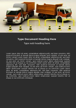 Transport Trucks Word Template, Cover Page, 05338, Cars/Transportation — PoweredTemplate.com