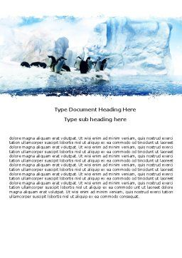 Penguins On The Iceberg Word Template, Cover Page, 05353, Nature & Environment — PoweredTemplate.com