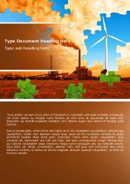 Wind Energy Versus Coal Plant Word Template, Cover Page, 05385, Nature & Environment — PoweredTemplate.com