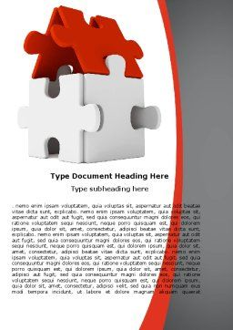 House Puzzle Word Template, Cover Page, 05387, Business — PoweredTemplate.com