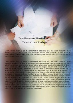 Working With Papers Word Template, Cover Page, 05390, Business — PoweredTemplate.com