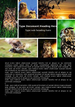 Owl Collage Word Template, Cover Page, 05395, Education & Training — PoweredTemplate.com
