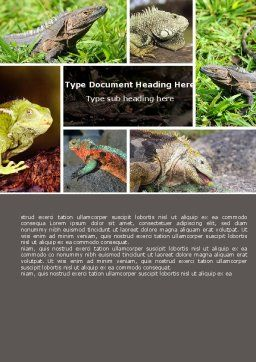 Iguana Word Template, Cover Page, 05414, Agriculture and Animals — PoweredTemplate.com