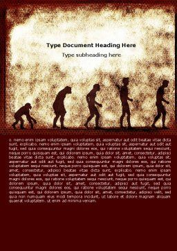 Human Development From Ape Word Template, Cover Page, 05415, Consulting — PoweredTemplate.com