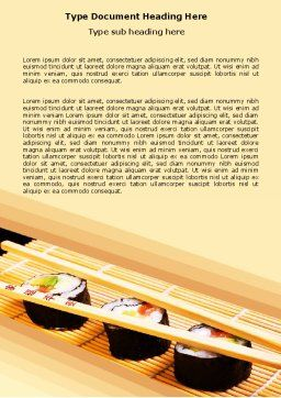 Sushi Rolls Word Template, Cover Page, 05420, Food & Beverage — PoweredTemplate.com