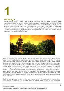 Pagoda Word Template, First Inner Page, 05428, Flags/International — PoweredTemplate.com