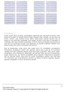 DNA Sequences Word Template, Second Inner Page, 05437, Technology, Science & Computers — PoweredTemplate.com