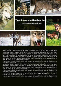 Wolf Word Template, Cover Page, 05439, Agriculture and Animals — PoweredTemplate.com