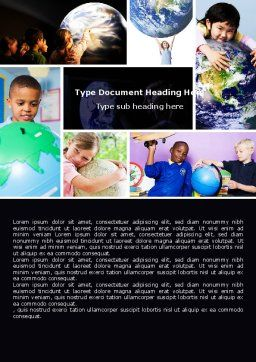 Pupils Of The World Word Template, Cover Page, 05451, Education & Training — PoweredTemplate.com