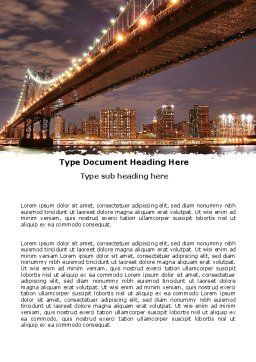 Manhattan Bridge Word Template, Cover Page, 05475, Construction — PoweredTemplate.com