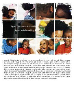 Happy Afroamerican Family Word Template Cover Page