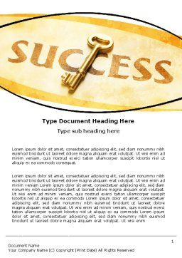 Key to Success Word Template, Cover Page, 05487, Business Concepts — PoweredTemplate.com