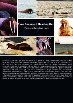 Free Walrus Word Template, Cover Page, 05511, Agriculture and Animals — PoweredTemplate.com