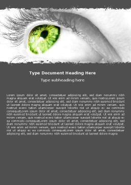 Green Eye Word Template, Cover Page, 05524, Consulting — PoweredTemplate.com