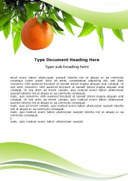 Orange Tree Word Template, Cover Page, 05547, Agriculture and Animals — PoweredTemplate.com