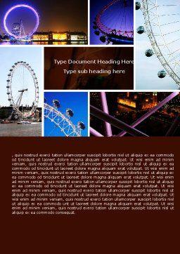 Millennium Wheel Word Template, Cover Page, 05560, Construction — PoweredTemplate.com