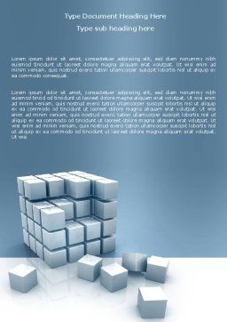 Cube Word Template, Cover Page, 05571, Construction — PoweredTemplate.com