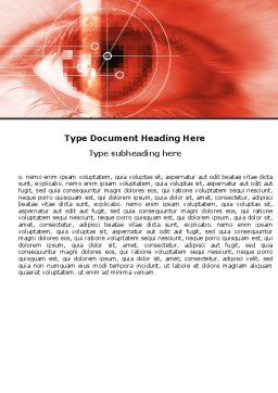 Eye In Red Colors Word Template, Cover Page, 05574, Technology, Science & Computers — PoweredTemplate.com