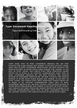 Kids In Black And White Colors Word Template, Cover Page, 05591, People — PoweredTemplate.com