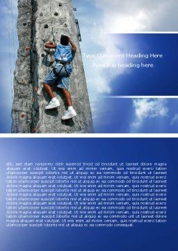 Climber On A Climbing Wall Word Template, Cover Page, 05592, Business Concepts — PoweredTemplate.com