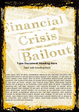 Financial Crisis Bailout Word Template Cover Page