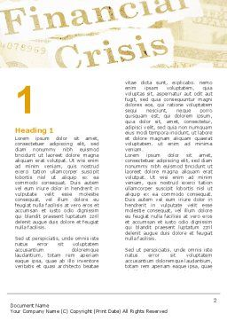 Financial Crisis Bailout Word Template First Inner Page