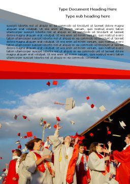 Graduation In Red Blue Colors Word Template, Cover Page, 05620, Education & Training — PoweredTemplate.com