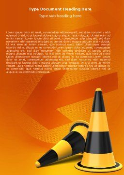 Traffic Cones Word Template, Cover Page, 05631, Construction — PoweredTemplate.com