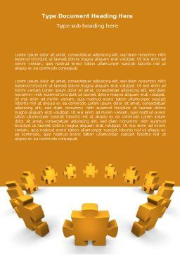 Yellow Jigsaw Word Template, Cover Page, 05640, Consulting — PoweredTemplate.com