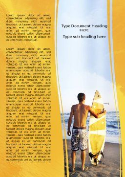 Surfer On A Sunset Word Template, Cover Page, 05678, Sports — PoweredTemplate.com