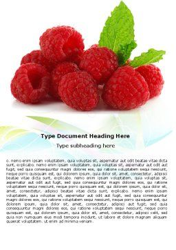Raspberry With Green Leaf Word Template, Cover Page, 05705, Food & Beverage — PoweredTemplate.com