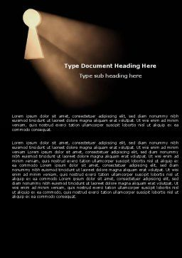 Keyhole In The Dark Word Template, Cover Page, 05707, Business Concepts — PoweredTemplate.com