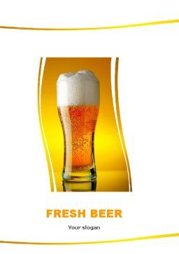 Goblet Of Beer Foaming Word Template, Cover Page, 05748, Food & Beverage — PoweredTemplate.com