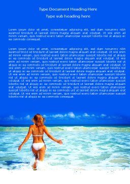 Girl Running On The Waves Word Template, Cover Page, 05774, Careers/Industry — PoweredTemplate.com