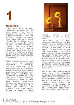 Sunflower Still Life Word Template, First Inner Page, 05796, Art & Entertainment — PoweredTemplate.com