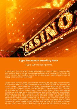 Casino Word Template, Cover Page, 05811, Careers/Industry — PoweredTemplate.com