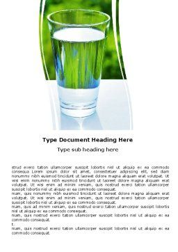Glass of Water Word Template, Cover Page, 05815, Food & Beverage — PoweredTemplate.com