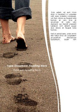 Sand Footprints Word Template, Cover Page, 05834, Religious/Spiritual — PoweredTemplate.com