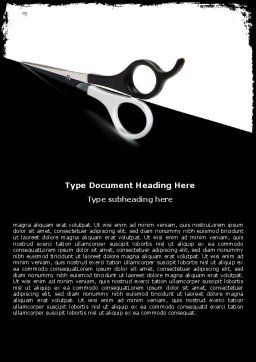 Black And White Scissors Word Template, Cover Page, 05835, Consulting — PoweredTemplate.com