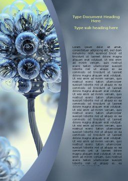 Electric Flower Word Template, Cover Page, 05839, 3D — PoweredTemplate.com