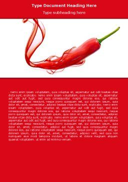 Chili Pepper Word Template, Cover Page, 05845, Food & Beverage — PoweredTemplate.com